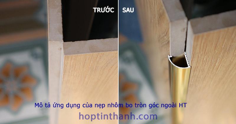 Mô tả ứng dụng của nẹp nhôm bo tròn góc ngoài HT - trước và sau khi có nẹp