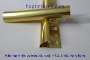 Một mẫu nẹp nhôm bo tròn góc ngoài HT12.5 màu vàng bóng