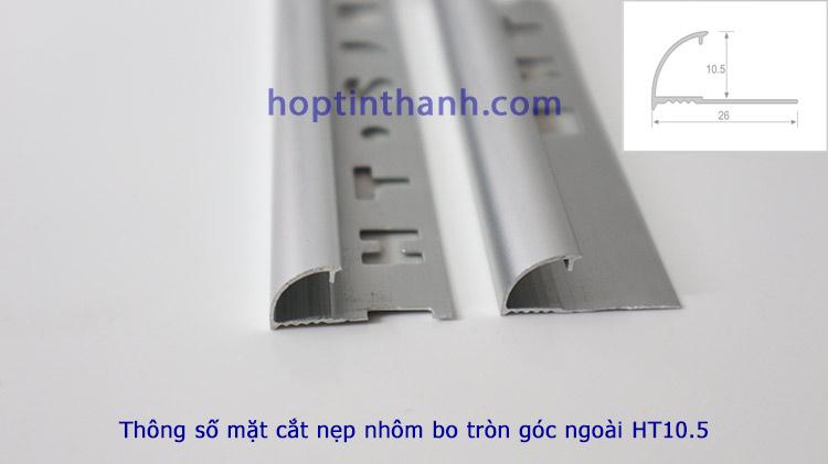 Thông số mặt cắt nẹp nhôm bo tròn góc ngoài HT10.5