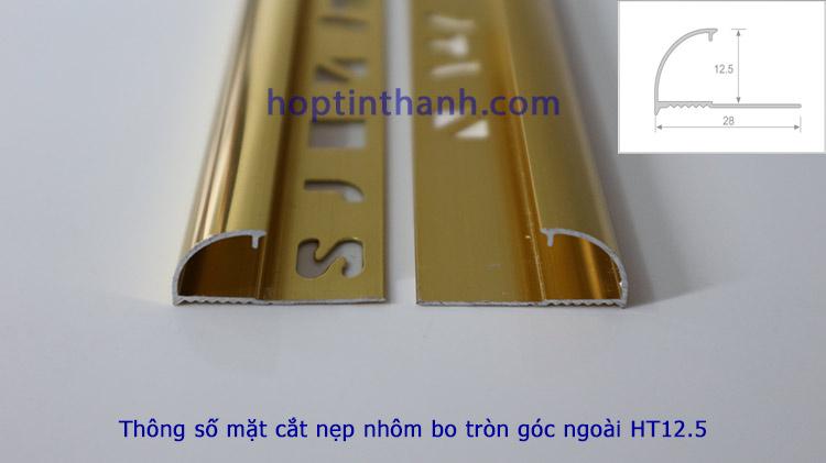 Thông số mặt cắt nẹp nhôm bo tròn góc ngoài HT12.5