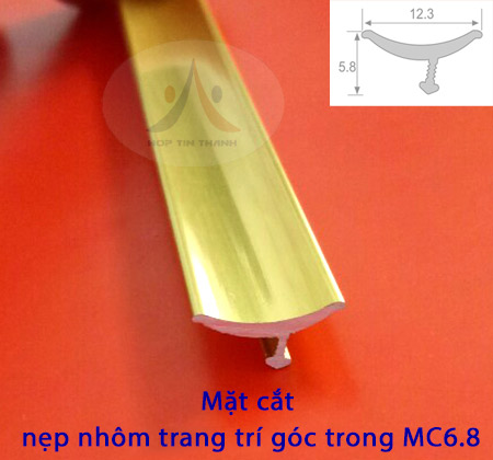 Thông số mặt cắt nẹp nhôm góc trong hay nẹp nhôm góc âm MC6.8