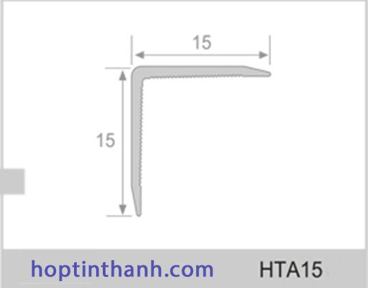 Mặt cắt và kích thước nẹp nhôm chữ V HTA15 Hợp Tín Thành