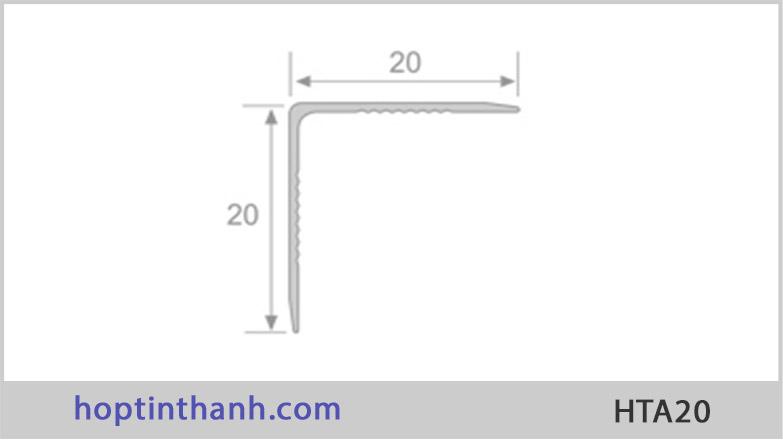 Mặt cắt và kích thước nẹp nhôm chữ V HTA20 Hợp Tín Thành