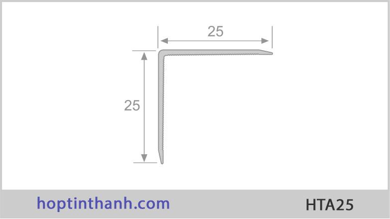 Kích thước mặt cắt nẹp nhôm chữ V HTA25 Hợp Tín Thành