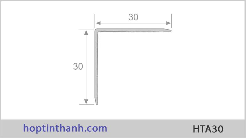 Mặt cắt và kích thước nẹp nhôm chữ V HTA30 Hợp Tín Thành