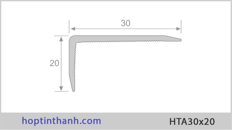 Mặt cắt và kích thước nẹp nhôm chữ V lệch HTA30x20 Hợp Tín Thành