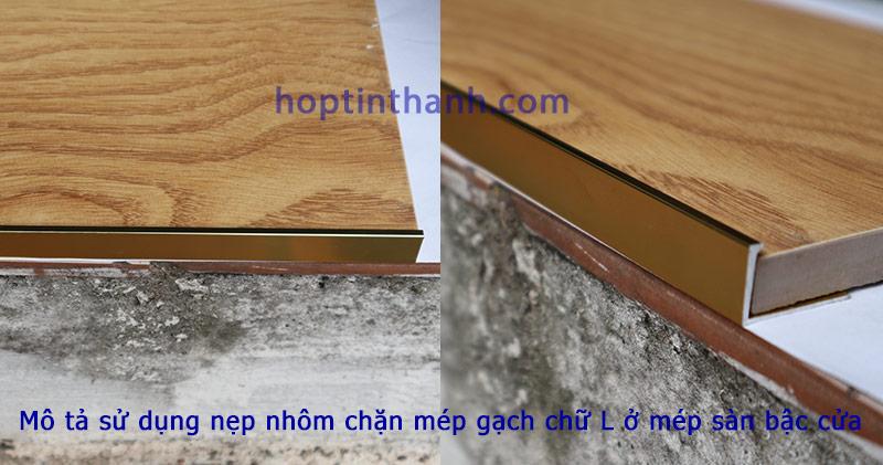 Ứng dụng nẹp chặn mép gạch hợp kim nhôm chữ L tại mép sàn gạch ở bậc cửa