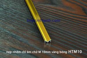 Nẹp nhôm chỉ âm chữ M HTM10 màu vàng bóng Hợp Tín Thành