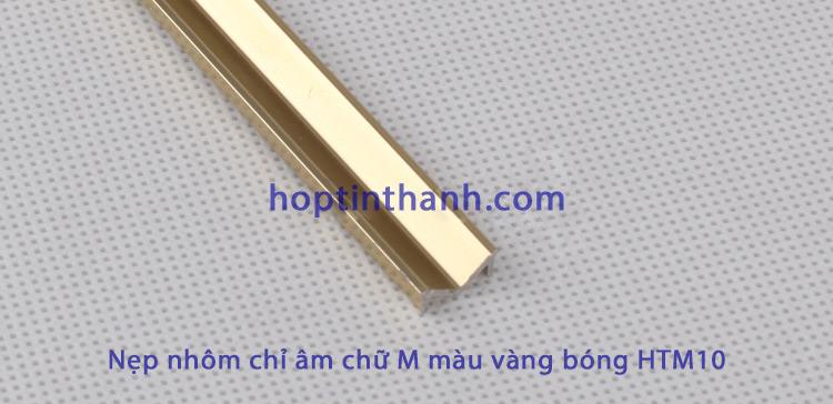 Nẹp chỉ âm tường chữ M hợp kim nhôm màu vàng bóng HTM10 Hợp Tín Thành