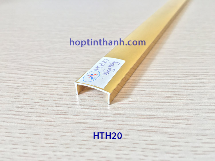 Nẹp nhôm chữ U 20mm HTH20 màu vàng bóng Hợp Tín Thành