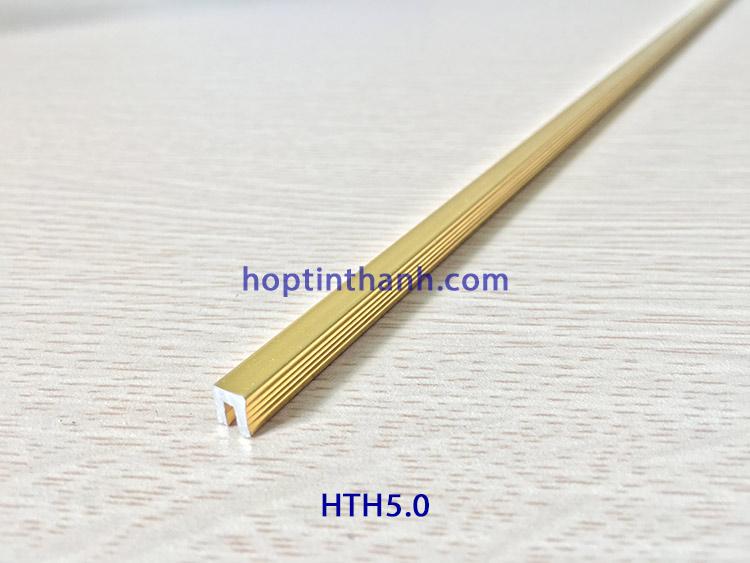 Nẹp nhôm chữ U HTH5.0 màu vàng bóng Hợp Tín Thành