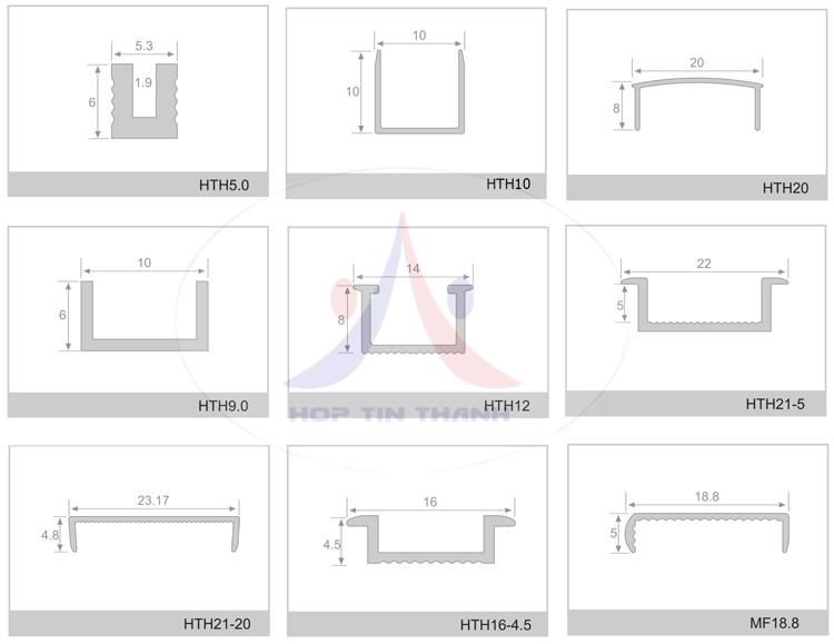 Mặt cắt và kích thước các sản phẩm nẹp nhôm chữ U Hợp Tín Thành