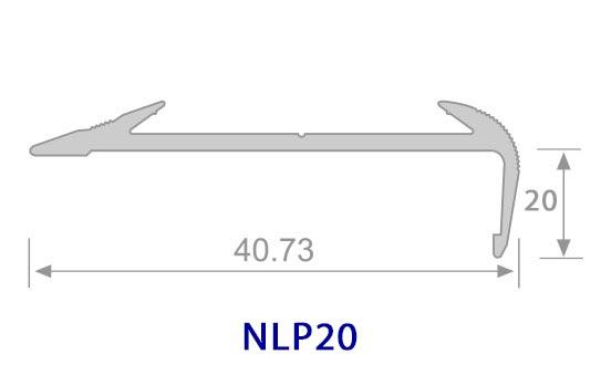 Thông số mặt cắt Nẹp nhôm chống trơn NLP20 - Hợp Tín Thành