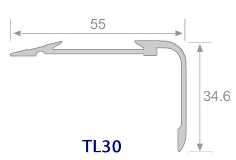 Thông số mặt cắt Nẹp nhôm chống trơn TL30 - Hợp Tín Thành