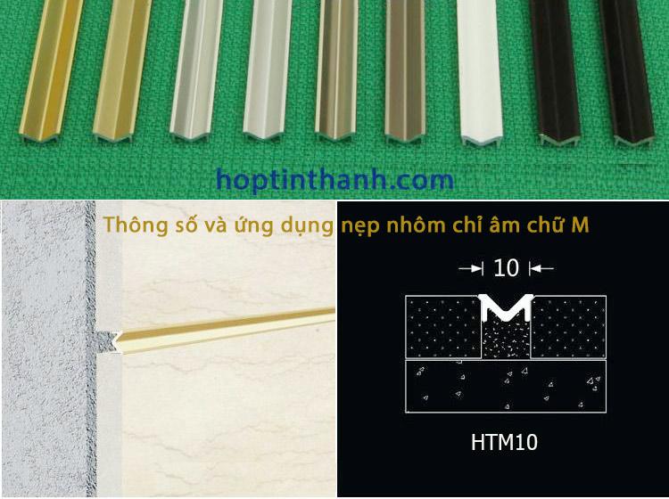 Thông số và ứng dụng nẹp nhôm chỉ âm tường chữ M HTM10 Hợp Tín Thành