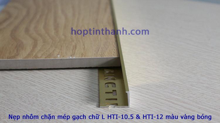 Nẹp chặn mép gạch hợp kim nhôm chữ L vàng bóng Hợp Tín Thành