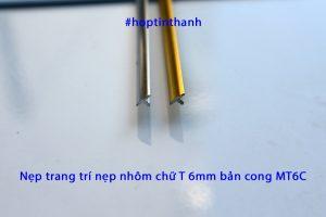 Mặt cắt nẹp trang trí nẹp nhôm chữ T bản cong 6mm MT6C