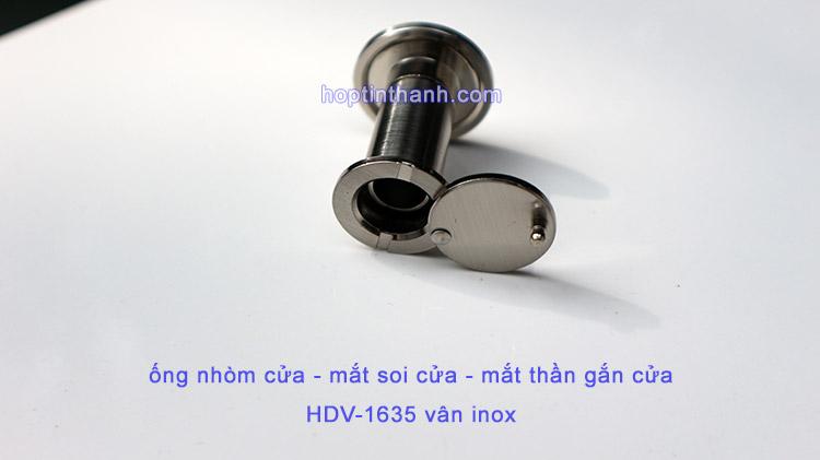 Mặt sau ống nhòm cửa - mắt soi cửa - mắt thần gắn cửa HDV1635 có nắp che